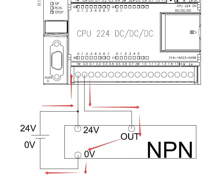 3,pnp传感器接入plc(对于西门子plc来说是漏型输入接法)